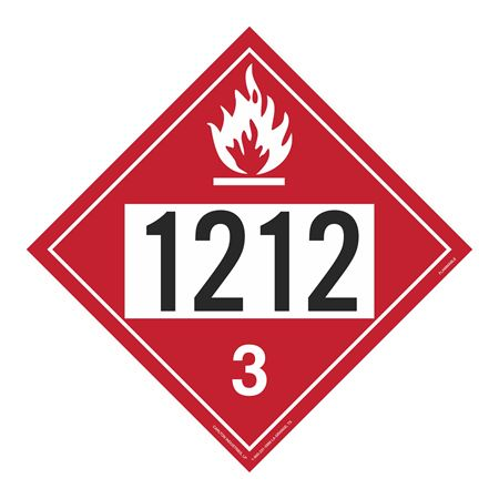 UN#1212 Flammable Stock Numbered Placard