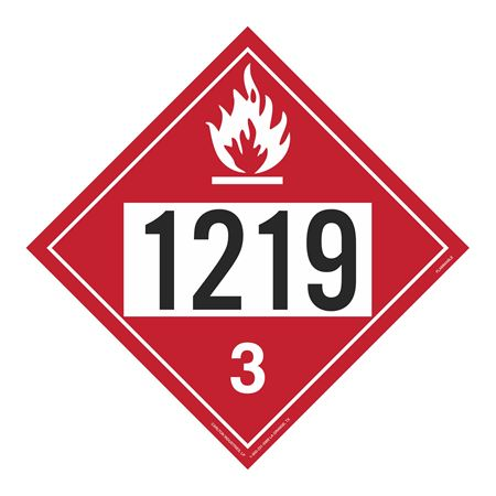 UN#1219 Flammable Liquid Stock Numbered Placard