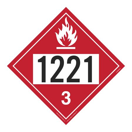 UN#1221 Flammable Stock Numbered Placard