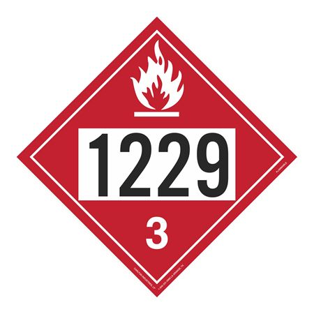 UN#1229 Flammable Stock Numbered Placard