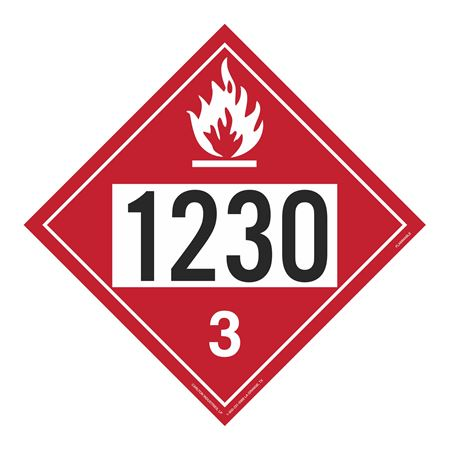 UN#1230 Flammable Liquid Stock Numbered Placard
