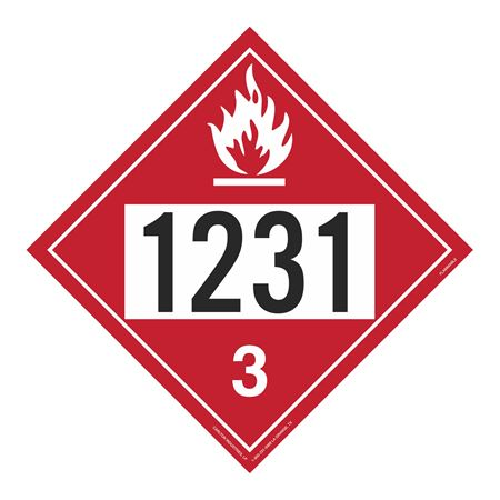 UN#1231 Flammable Stock Numbered Placard