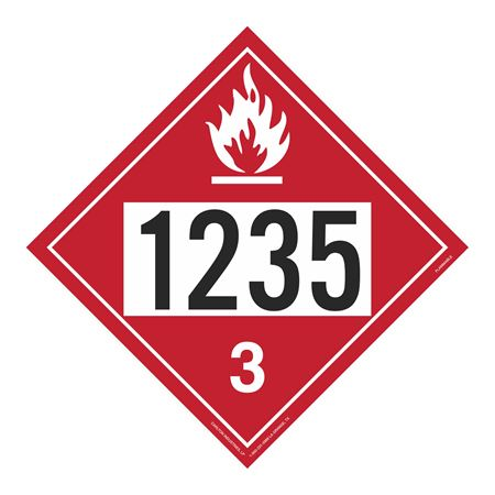 UN#1235 Flammable Stock Numbered Placard