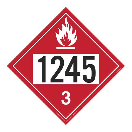 UN#1245 Flammable Liquid Stock Numbered Placard