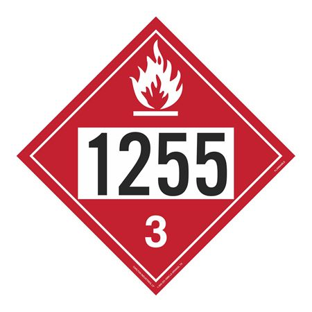 UN#1255 Flammable Stock Numbered Placard