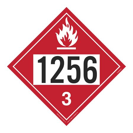 UN#1256 Flammable Stock Numbered Placard
