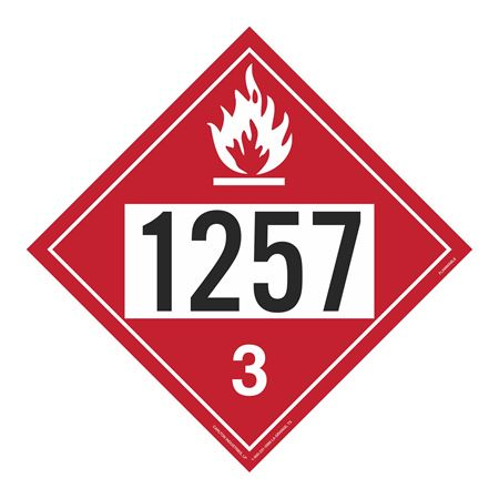 UN#1257 Flammable Stock Numbered Placard