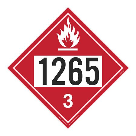 UN#1265 Flammable Stock Numbered Placard