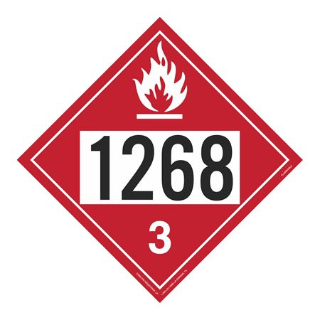 UN#1268 Flammable Liquid Stock Numbered Placard