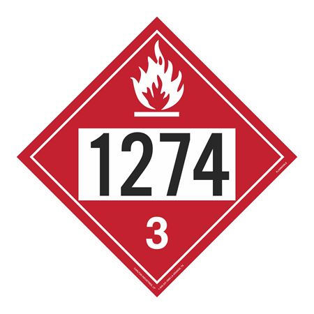UN#1274 Flammable Stock Numbered Placard