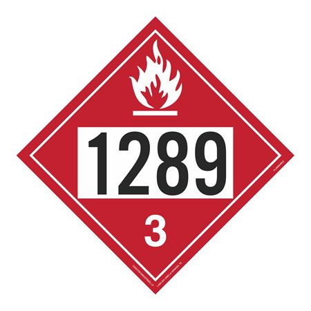 UN#1289 Flammable Stock Numbered Placard
