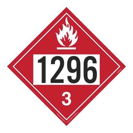 UN#1296 Flammable Stock Numbered Placard