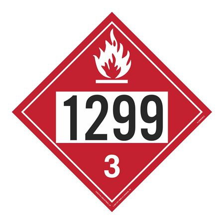 UN#1299 Flammable Stock Numbered Placard