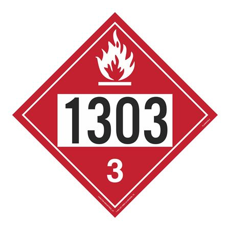 UN#1303 Flammable Stock Numbered Placard