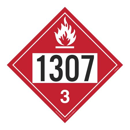 UN#1307 Flammable Liquid Stock Numbered Placard
