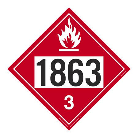 UN#1863 Flammable Liquid Stock Numbered Placard