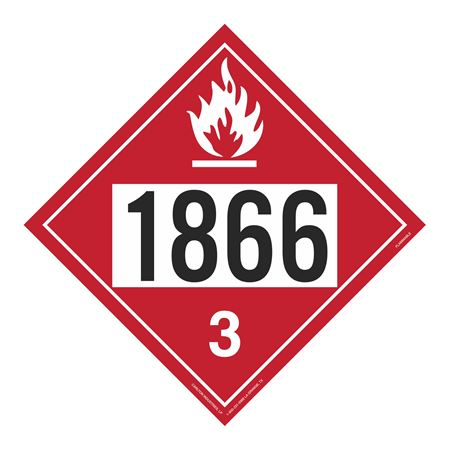 UN#1866 Flammable Liquid Stock Numbered Placard