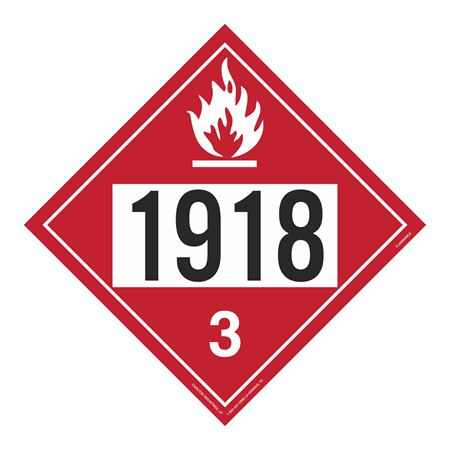 UN#1918 Flammable Stock Numbered Placard