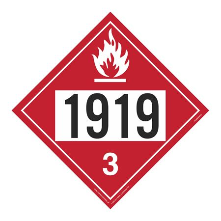 UN#1919 Flammable Stock Numbered Placard