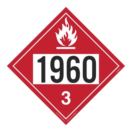 UN#1960 Flammable Stock Numbered Placard