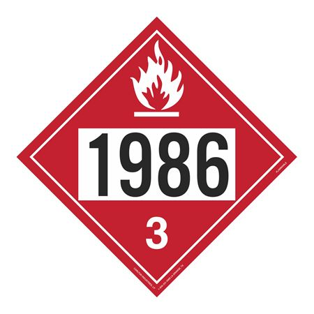 UN#1986 Flammable Liquid Stock Numbered Placard