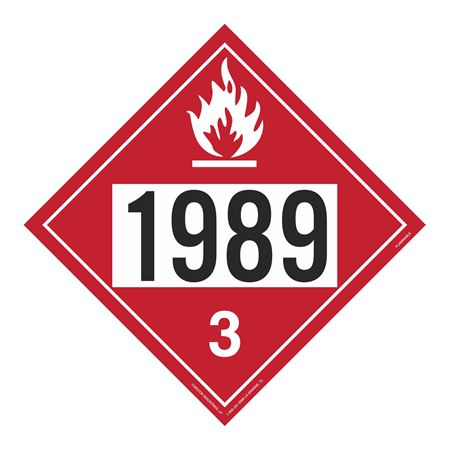 UN#1989 Flammable Stock Numbered Placard