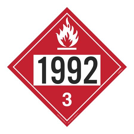 UN#1992 Flammable Stock Numbered Placard