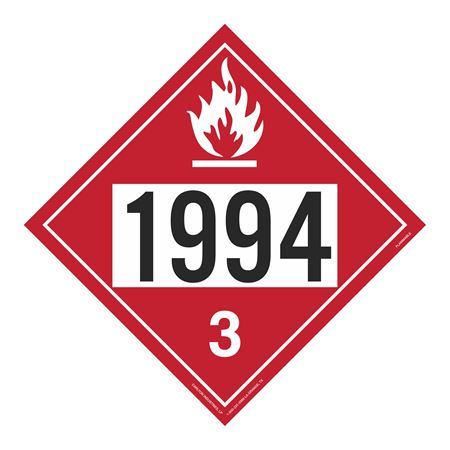 UN#1994 Flammable Stock Numbered Placard