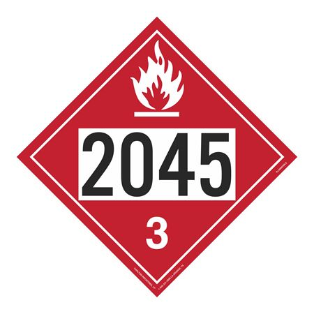 UN#2045 Flammable Stock Numbered Placard