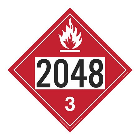 UN#2048 Flammable Stock Numbered Placard