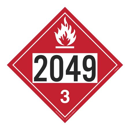 UN#2049 Flammable Stock Numbered Placard