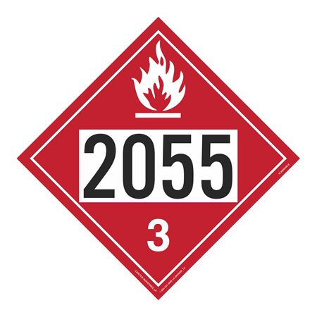UN#2055 Flammable Liquid Stock Numbered Placard