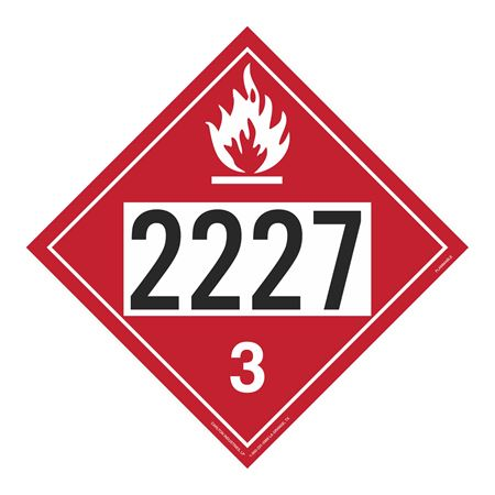UN#2227 Flammable Stock Numbered Placard