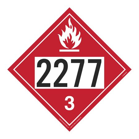 UN#2277 Flammable Stock Numbered Placard