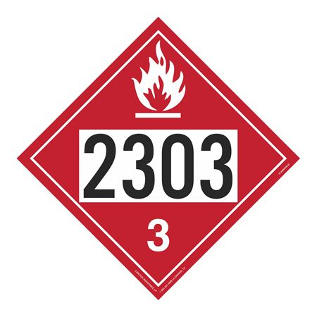 UN#2303 Flammable Stock Numbered Placard
