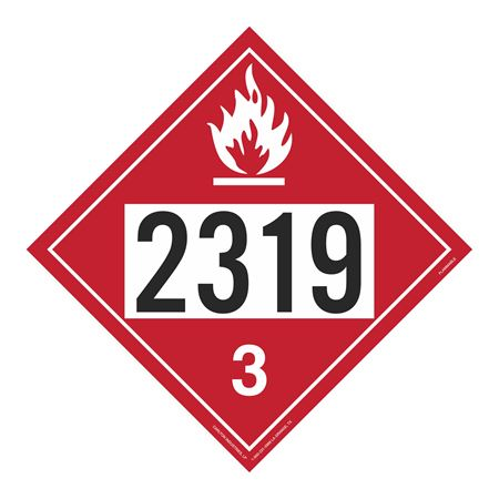 UN#2319 Flammable Stock Numbered Placard