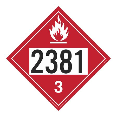 UN#2381 Flammable Stock Numbered Placard