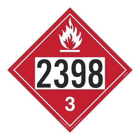 UN#2398 Flammable Stock Numbered Placard