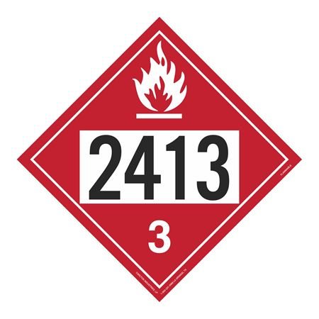 UN#2413 Flammable Stock Numbered Placard