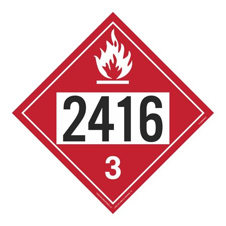 UN#2416 Flammable Stock Numbered Placard