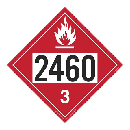 UN#2460 Flammable Stock Numbered Placard