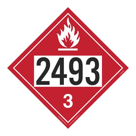UN#2493 Flammable Stock Numbered Placard