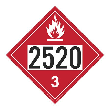 UN#2520 Flammable Stock Numbered Placard