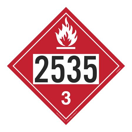 UN#2535 Flammable Stock Numbered Placard