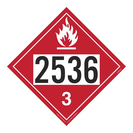 UN#2536 Flammable Stock Numbered Placard