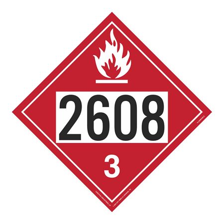 UN#2608 Flammable Stock Numbered Placard