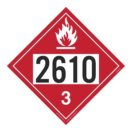 UN#2610 Flammable Stock Numbered Placard