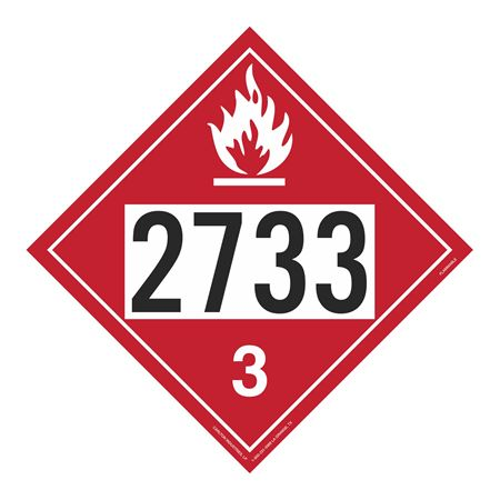 UN#2733 Flammable Stock Numbered Placard