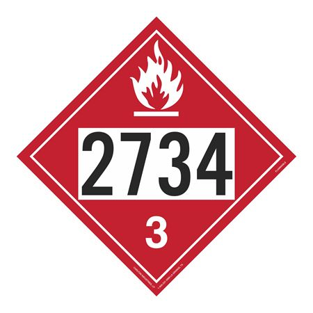 UN#2734 Flammable Stock Numbered Placard