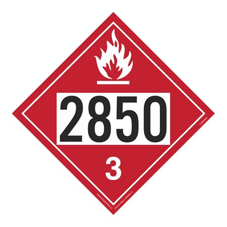 UN#2850 Flammable Stock Numbered Placard